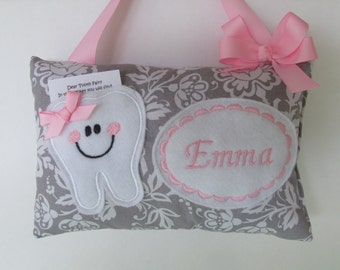 Tooth Fairy Pillow Personalized Grey Floral