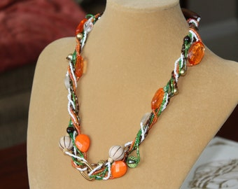 Wild and Colorful Twister Necklace, Four continuous bead strands,Autumn colors, Birthday gift, Christmas gift, Mother's Day gift, 51 inches
