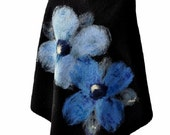 Black poncho, blue flowers, handmade