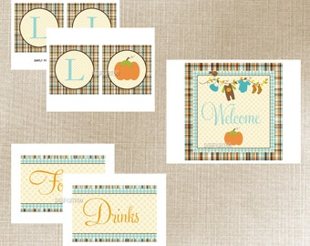 Little Pumpkin Baby Shower Printable Party Package