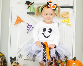 Ghost Halloween B&W Tutu Costume for Sizes 2t-5t  -- FREE SHIPPING