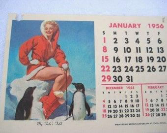 Elvgren pin up girl calendar, 1956 calendar