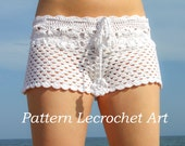 Crochet pattern white beach shorts and shorts color of summer, womens summer shorts pattern - pattern PDF