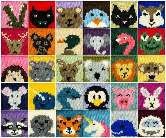 30 Animal Squares PDF Knitting Pattern