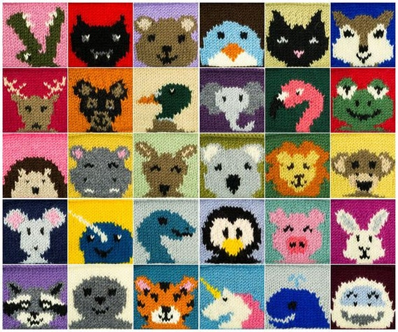 Knitting Patterns For Baby Animals : 30 Animal Squares PDF Knitting Pattern