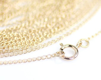 16 Inch Tiny Gold Chain, 14K Gold-Filled Finished Chain, with Spring Ring Clasp, 1.2mm Curb Cable, Stamped 14/20, GF-9