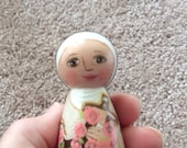 Saint Therese of Lisieux Wood Peg Doll / Litte Flower / Catechism of the Good Shepherd / Catholic Saint Toy / Blessed Mother