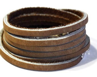 Wrap Bracelet, Tan leather, Multi Wrap