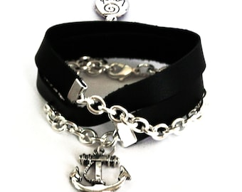 Black Wrap Bracelet with Thin Leather, Anchor Charm, and Chain