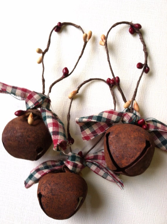 Items similar to SALE 6 Primitive Christmas Ornaments