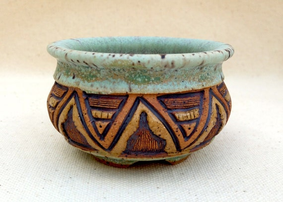 Pottery Mini Planter  - Original Hand Carved - Turquoise and Brown - 1349