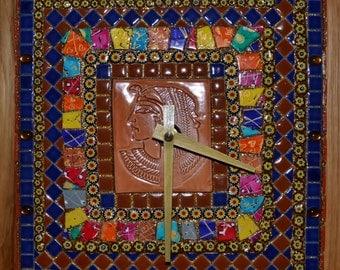 Egyptian Pharaoh Mosaic Clock