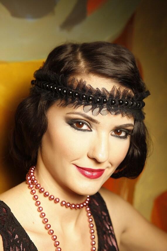 20s elegant headband Great Gatsby pearl or crystal headpiece