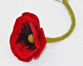 Key Chain red poppy flower pendant for keys felt trailers car keys house keys felt flower flower