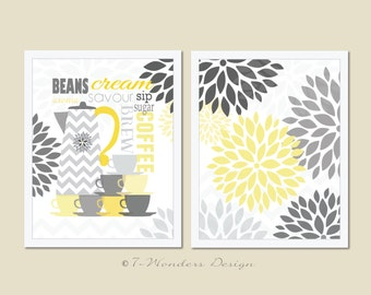 "Modern Kitchen Art Print set  - Coffee Lovers with Floral Bursts Wall Art - (2) 8"" x 10"" // Shades of Yellow and Grey"