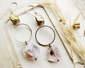 bohemain bridal earrings- pale amethyst and golden rustic beads - eco friendly wedding jewelry: Alchemy