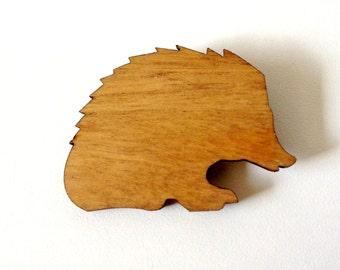 Echidna Australian Fauna wood Brooch from Tallowwood