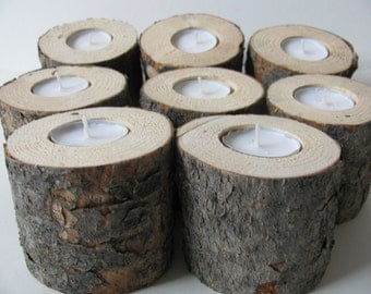 Five pine wood candle holders. Rustic wedding tree log tea lights.