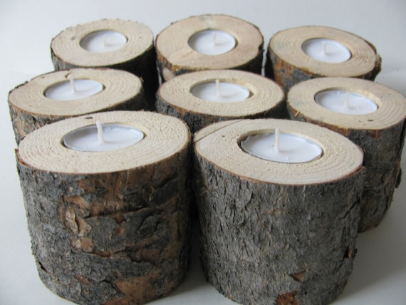 Five pine wood candle holders rustic wedding tree by for Rustic wood candle holders