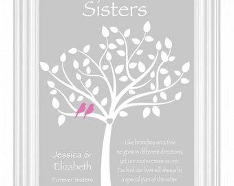 Sister Gift - Personalized Gift for Sister - Wedding Gift for Sister - Birthday Gift for Sister - Words and Colors can be customized