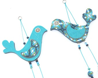 Wedding gift, wall decor love birds, Handmade love birds, Polymer clay birds, Bird couple with Blue, Turquoise, Green and White, A pair