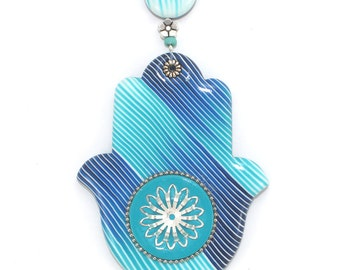 Wall decor Hamsa with stripes, good fortune Hamsa, Polymer clay Hamsa in blue, turquoise and white, blessing and luck