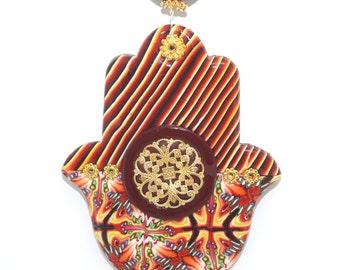 Great wedding gift, Polymer clay Hamsa, wall decor Hamsa, blessing and luck Hamsa, good fortune Hamsa in red, maroon and orange