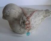 Copper, wire wrapped, Chez glass, copper drop pendant, on copper chain