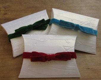 Velvet Tied, Embossed Pillow Box Gift Box