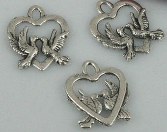 50pcs Tibetan silver color couple birds in love charms EF0512