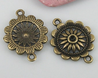 16pcs antiqued bronze color flower connector EF0547