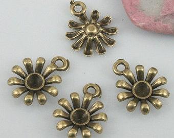 64pcs antiqued bronze color flower charms EF0558