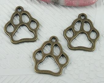 40pcs antiqued bronze color footprint design charms EF0832