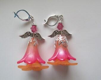 Floral Angel Earrings, Pink and Orange Earrings