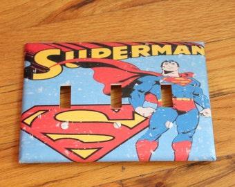 Superman & Symbol 3-Way Light Switch Decorative Plate