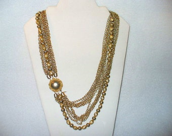Marvella Gold Tone 25 Inch Vintage Necklace with 11 Different Linked and Ball Chains