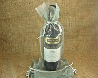 Organza Wine Bags - Silver - Great for Wedding Wine Favors - 10 bags