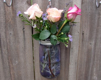 Hand Made Mason jar Hanging Vase With Frog Lid - Lilac Purple Color