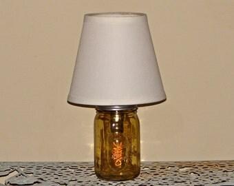 Handmade Mason Jar Lamp With Shade - Amber Mason Jar