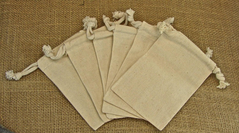 Small Wedding Gift Bags: Natural Muslin Favor Bags Small 3x4 Muslin Wedding