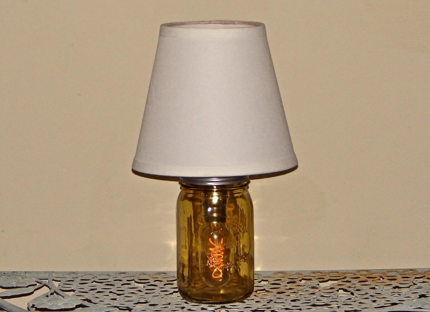 handmade mason jar lamp with shade amber mason jar. Black Bedroom Furniture Sets. Home Design Ideas