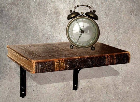 """Upcycled Book Shelf - """"A Book Shelf made from an Antique Leather Book"""" - Book Art, Altered Book art, Eclectic Furniture, Recycled shelf"""