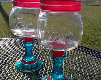 PAIR - Ball Mason Jar Margarita or Sangria Glass - 16oz Square Elite - Red and Turquoise- Bachelorette Orders Welcome - Wedding Party