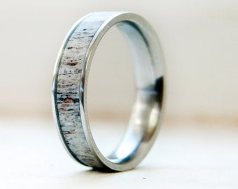 Mens Wedding Band w/ Antler Inlay Wedding Ring - Staghead Designs