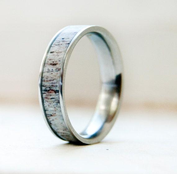 Mens Wedding Band w Antler Inlay Wedding Ring Staghead