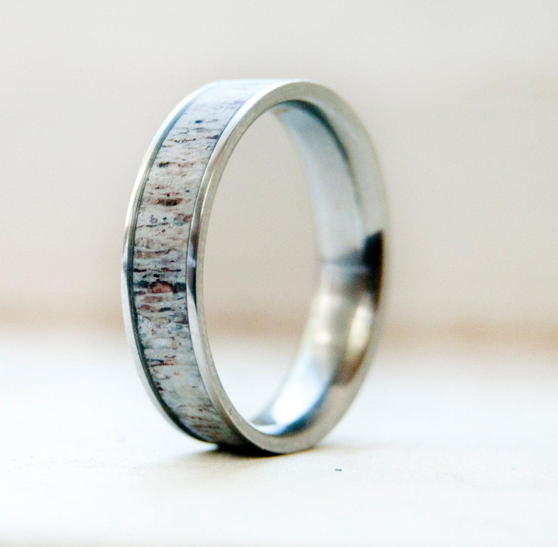 deer antler ring men wedding band Mens Wedding Band w Antler Inlay Wedding Ring Staghead Designs
