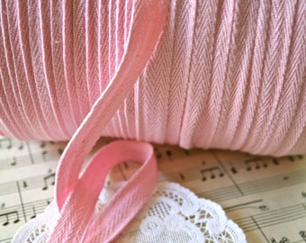 "3/8"" Pink Vintage Cotton Twill Tape"
