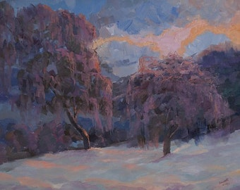 Winter painting, oil landscape painting trees, lilac and white Impressionist painting, landscape art canvas wall art, snow painting
