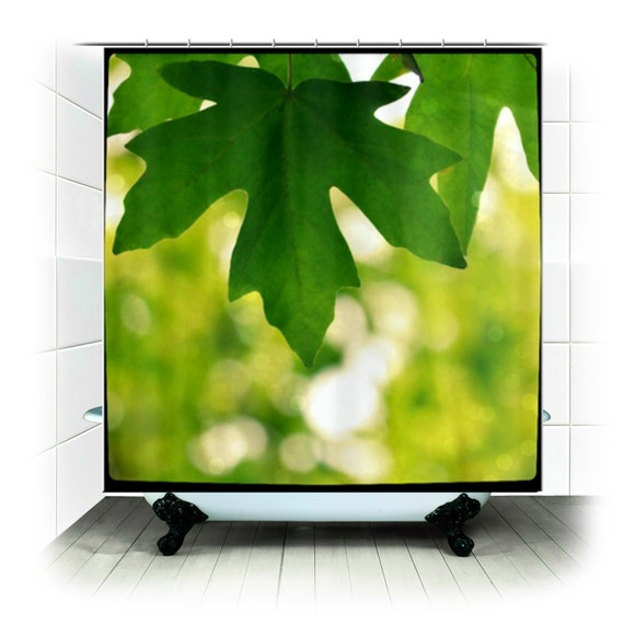 Fabric Shower Curtain Green Sunlight Forest Leaf Nature