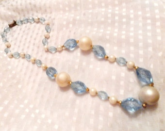 vintage handmade pearl and glass beaded necklace old type flat fastener